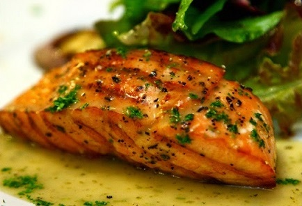 Grilled salmon recipe with lemon herb butter from real for How to cook salmon fish